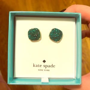 Kate Spade pavé small square earring emerald green